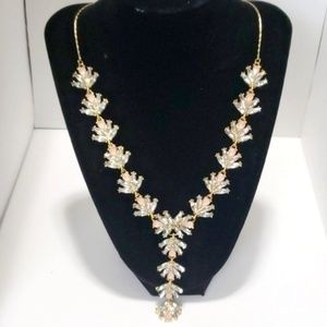 《INC》NEW Gold Necklace CZ Floral Pink Rhinestones